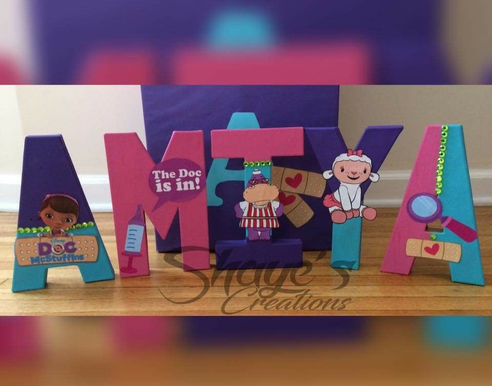 Doc Mcstuffins Custom Wooden Letters  Doc Mcstuffins Party Decor