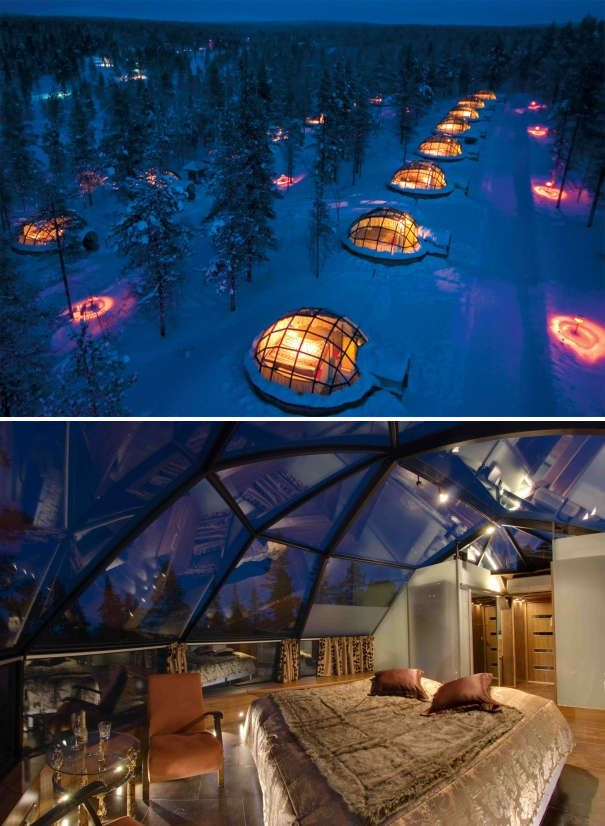 Romantic glass igloos with a view of the Northern Lights