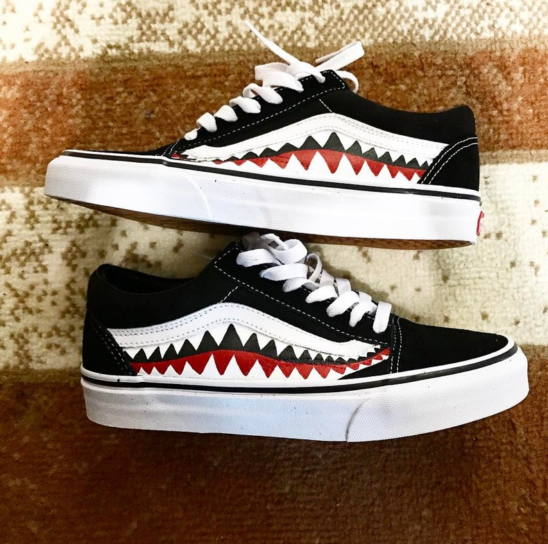 a81141396240fb VANS X BAPE SHARK TOOTH CUSTOM MADE SKATING F1