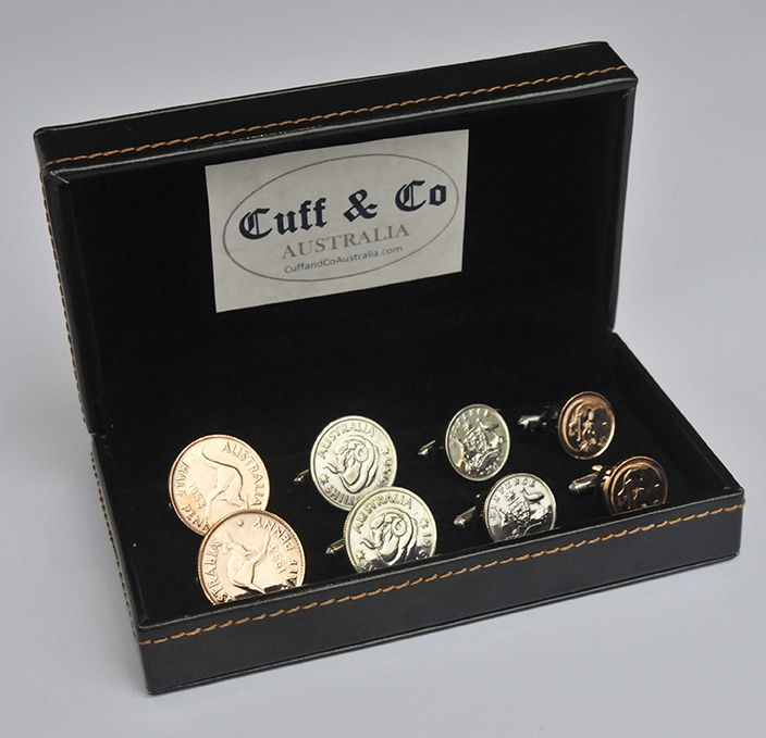 These are the best quality coin cufflinks in the world! The only Australian Coin Cufflinks which are e-coated with a transparent protective coating to protect their shine! Slight differences in the details of the coins are from genuine wear & tear in circulation and add to the uniqueness of our Australian Coin Cufflinks – 4 Pair Set. Price AUD 149.80