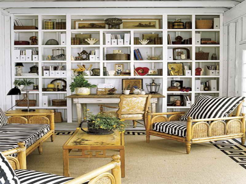 Full Wall Shelves Ideas With Wricker Chairs Storage House Home