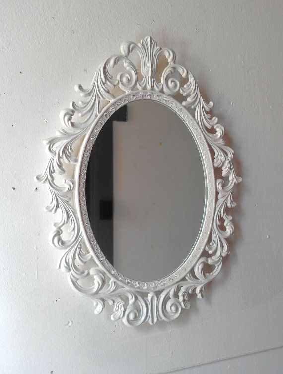 Ornate White Mirror Decorative Vintage Oval By Secretwindowmirrors Mirror Wall Oval Wall Mirror White Mirror