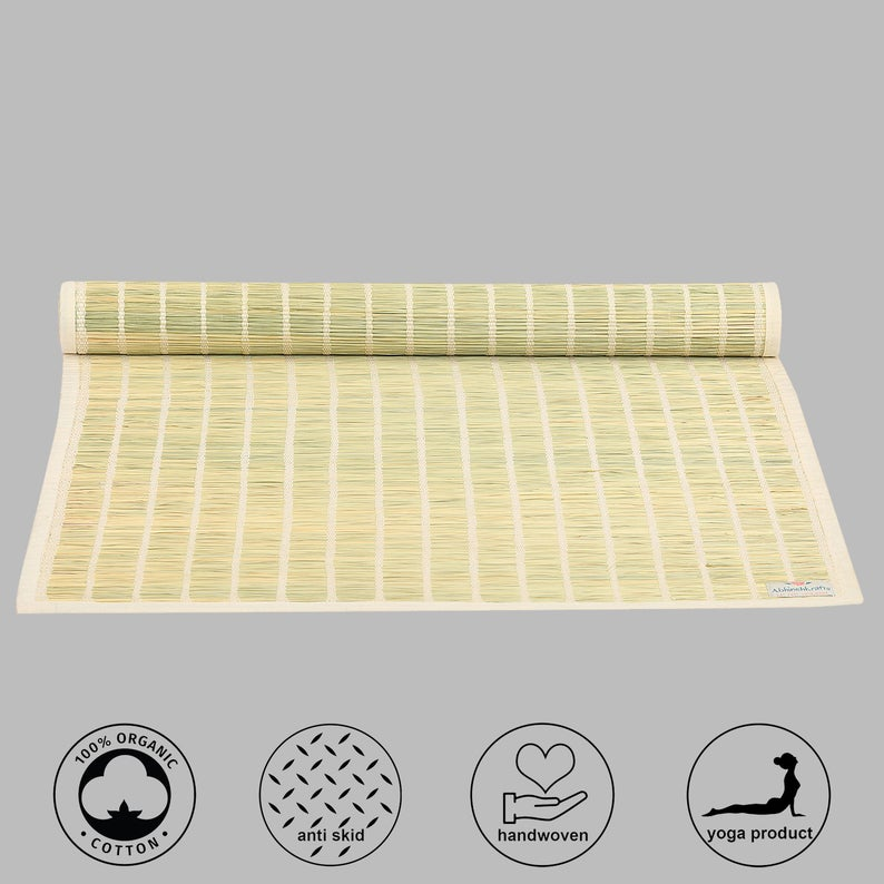 Darbha Kusha Grass Fiber Mat For Yoga Pilates Fitness And Meditation Handwoven Anti Skid Color Natural Green Design Dhyana In 2020 Yoga Mats Best How To Do Yoga Pilates