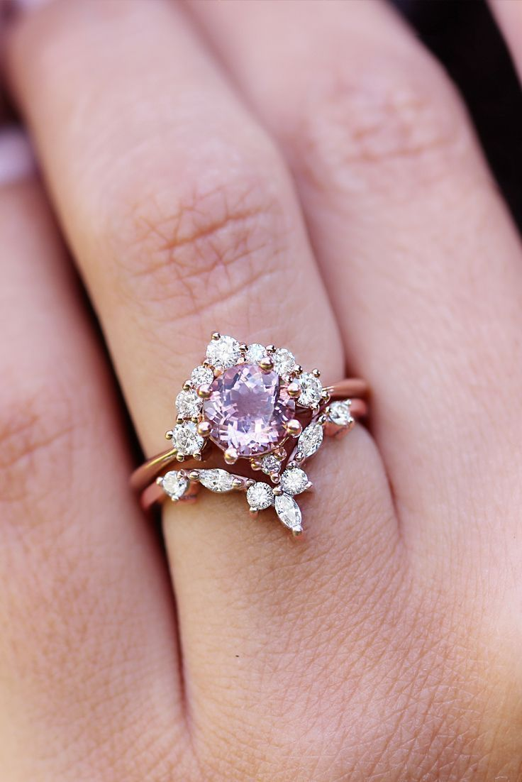 Morganite & Diamonds Unique Cluster Engagement Ring, Morganite ...