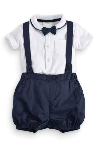 Buy Bodysuit Shorts With Braces And Bow Tie Set 0 18mths