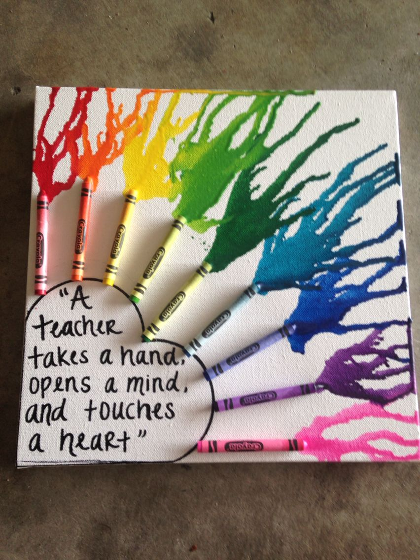 Melting crayon art! Cute gift for your favorite teacher! | Art and ...