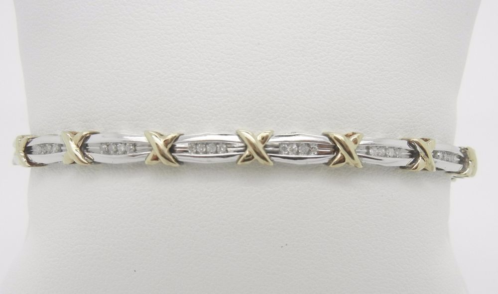 299 10k White And Yellow Gold Marked 10k And A Vendors Marking Diamond Tennis Bracelet This Bracelet Is Tennis Bracelet Diamond Tennis Bracelet Bracelets