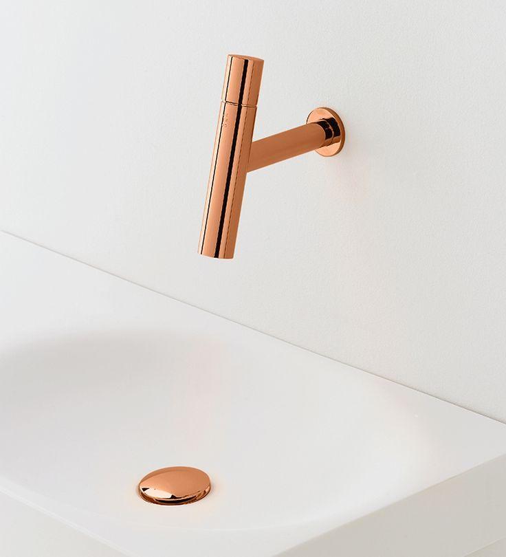 super sexy rose gold bathroom sink mixer tap   wall-mounted - mitigeur mural salle de bain