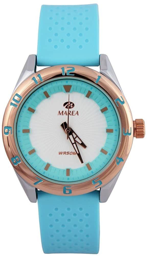 Marea sportliche Damen Armbanduhr analog mit Quarzwerk mit Silikon Uhrband und Lünette in Roségold - hellblau - B35257/6