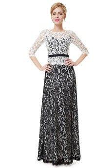 A-Line/Princess Jewel Floor-length Lace Evening Dress