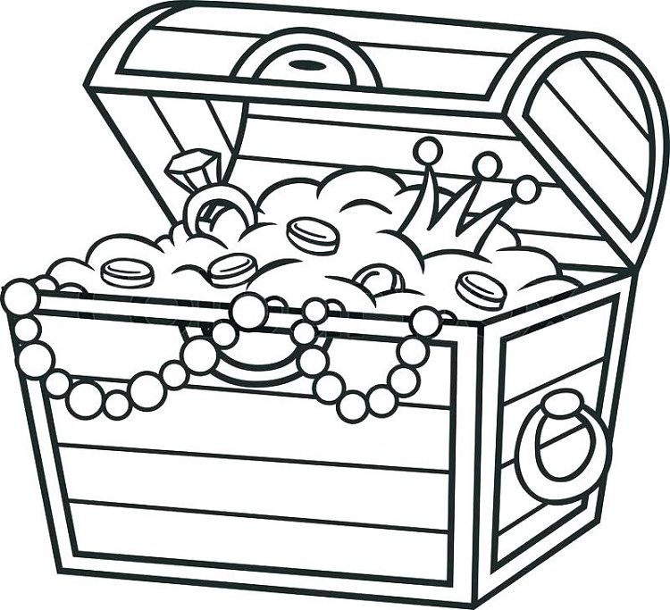 Pirate Treasure Box Coloring Pages Cartoon Treasure Chest