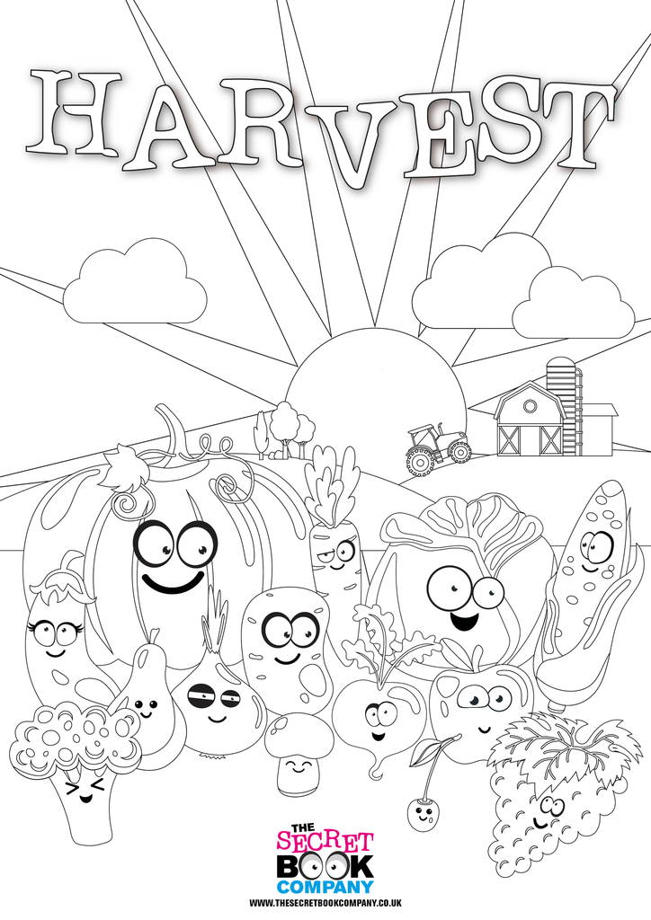 Free Harvest Colouring Poster Fall Coloring Pages Color Activities October Ideas
