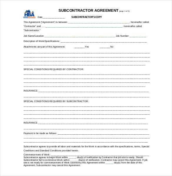 Subcontractor Agreement