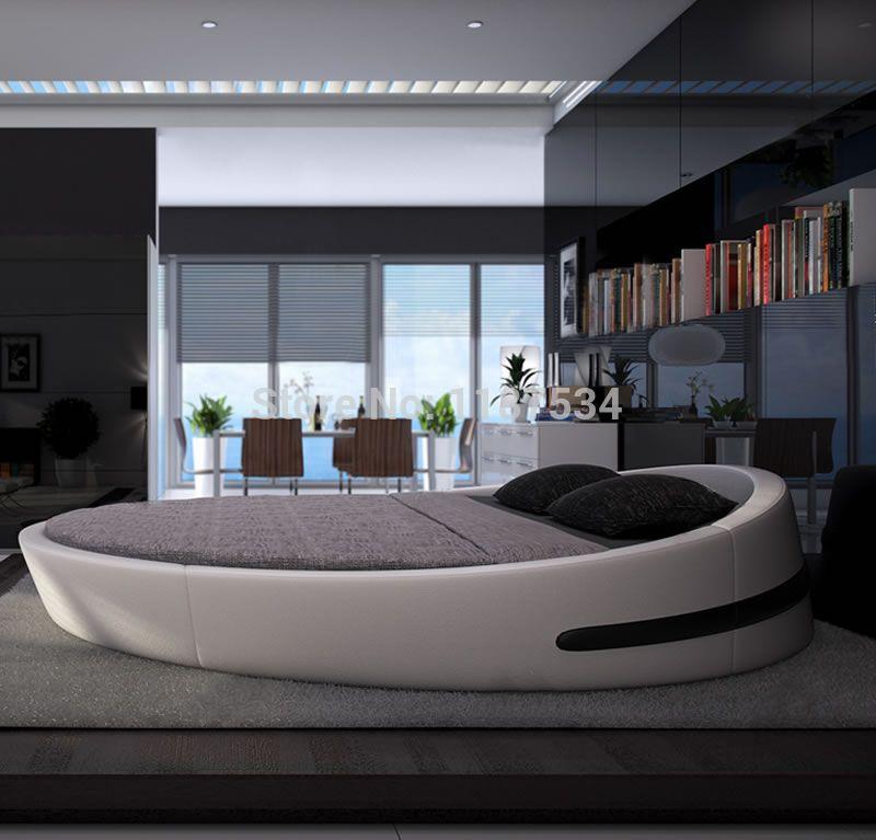 Mobilier de chambre king size grand rond en cuir lit douillet en ...
