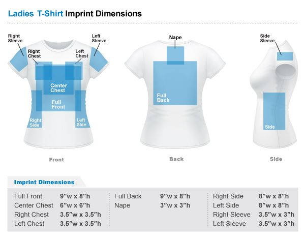 Standard imprint sizes for womens shirts cricut cutting for Full size t shirt printing