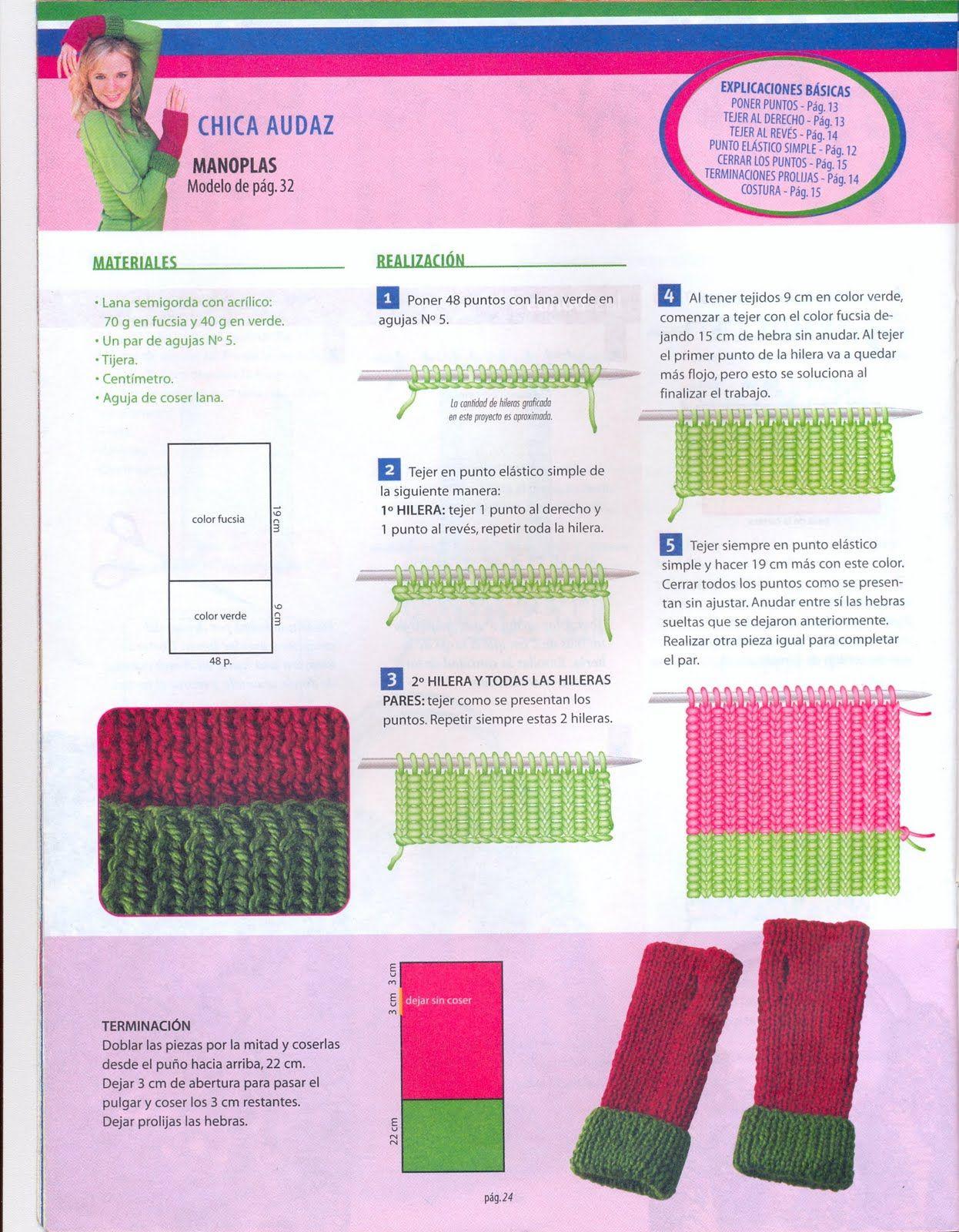Tejidos en crochet y dos agujas: Mitones o Manoplas PAP | tejido de ...