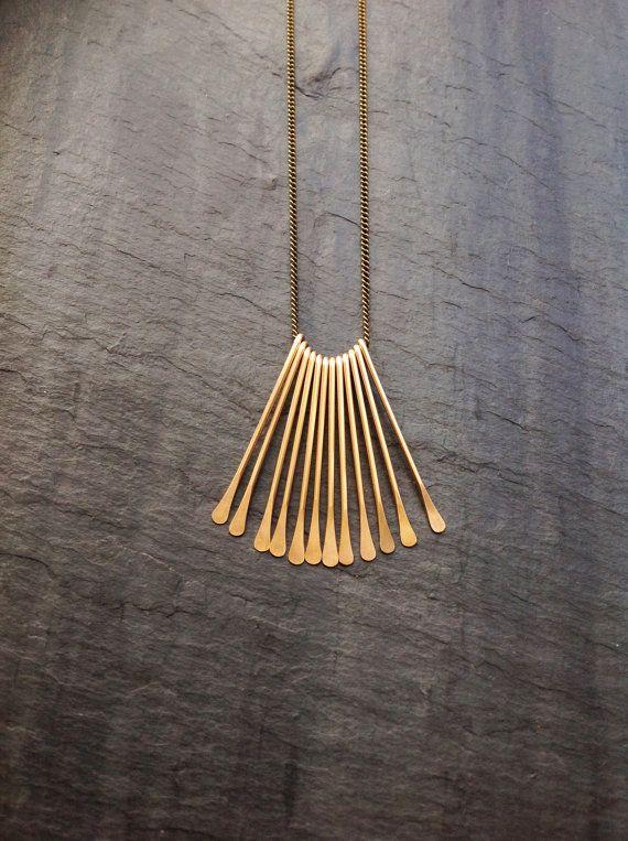 14K Goldfill Deco Fan Necklace, Gold, Tassel, Necklace, Sterling ...