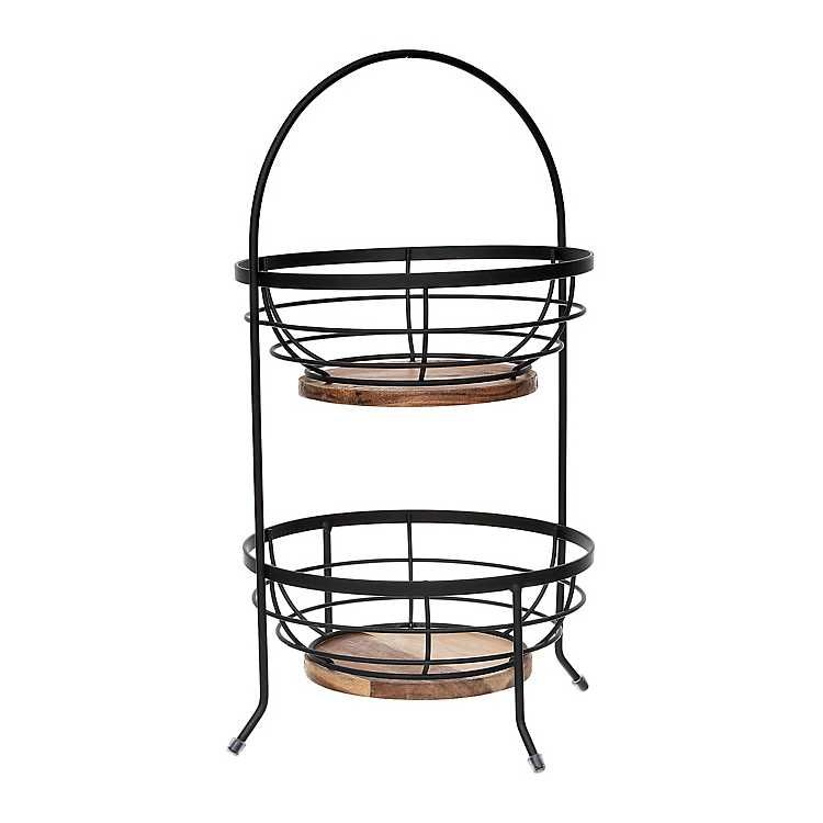 Black Metal Wire And Wooden 2 Tier Basket Stand In 2020 Tiered Basket Stand Metal Wire Black Metal Frame