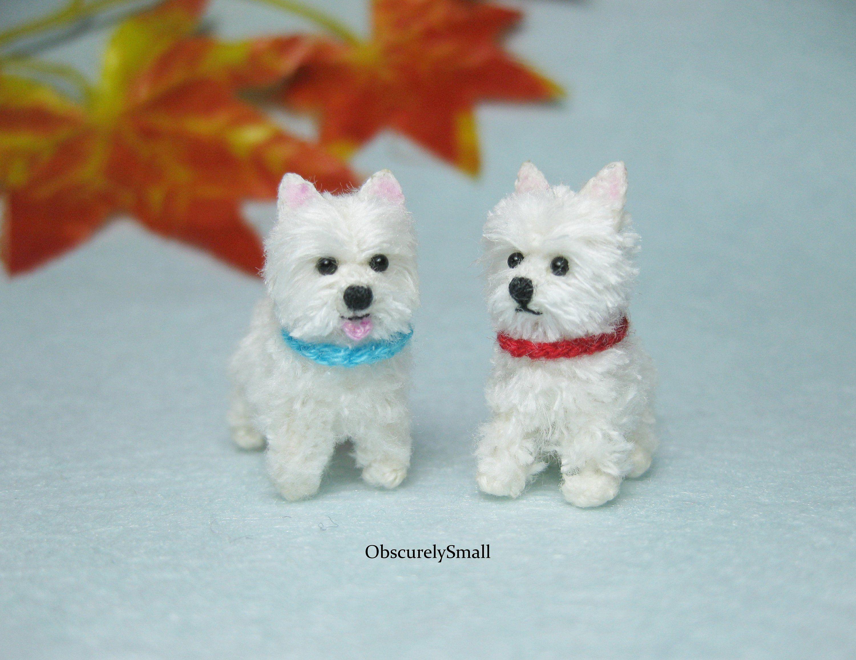 Miniature crochet westie terrier amigurumi dog made to