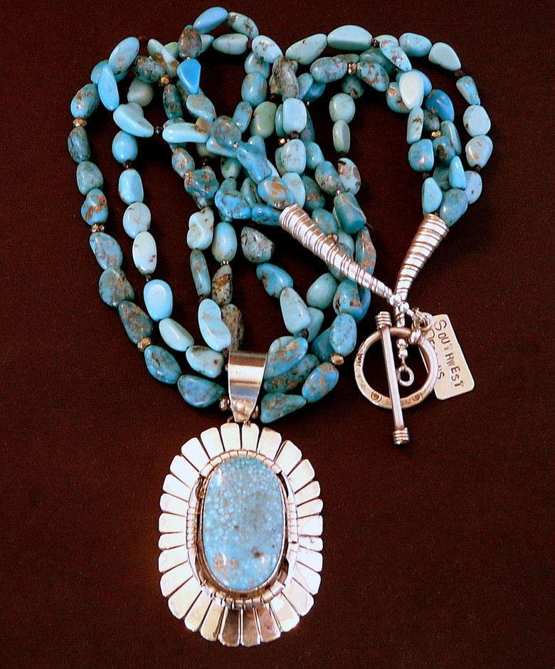 Kingman Turquoise & Sterling Silver Radius Pendant with 4 Strands of Troy Springs Turquoise & Sterling