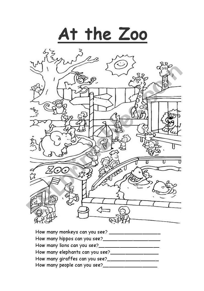At The Zoo Worksheet Klassrumsideer Engelska [ 1169 x 821 Pixel ]