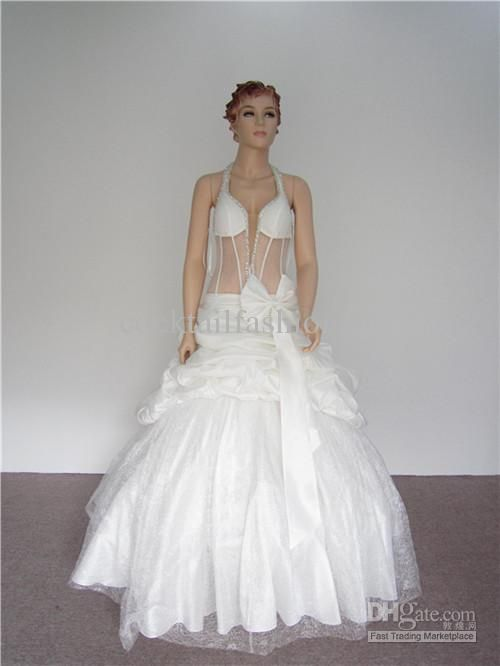 Wholesale New Style Sexy A line Beads See Through Bridal