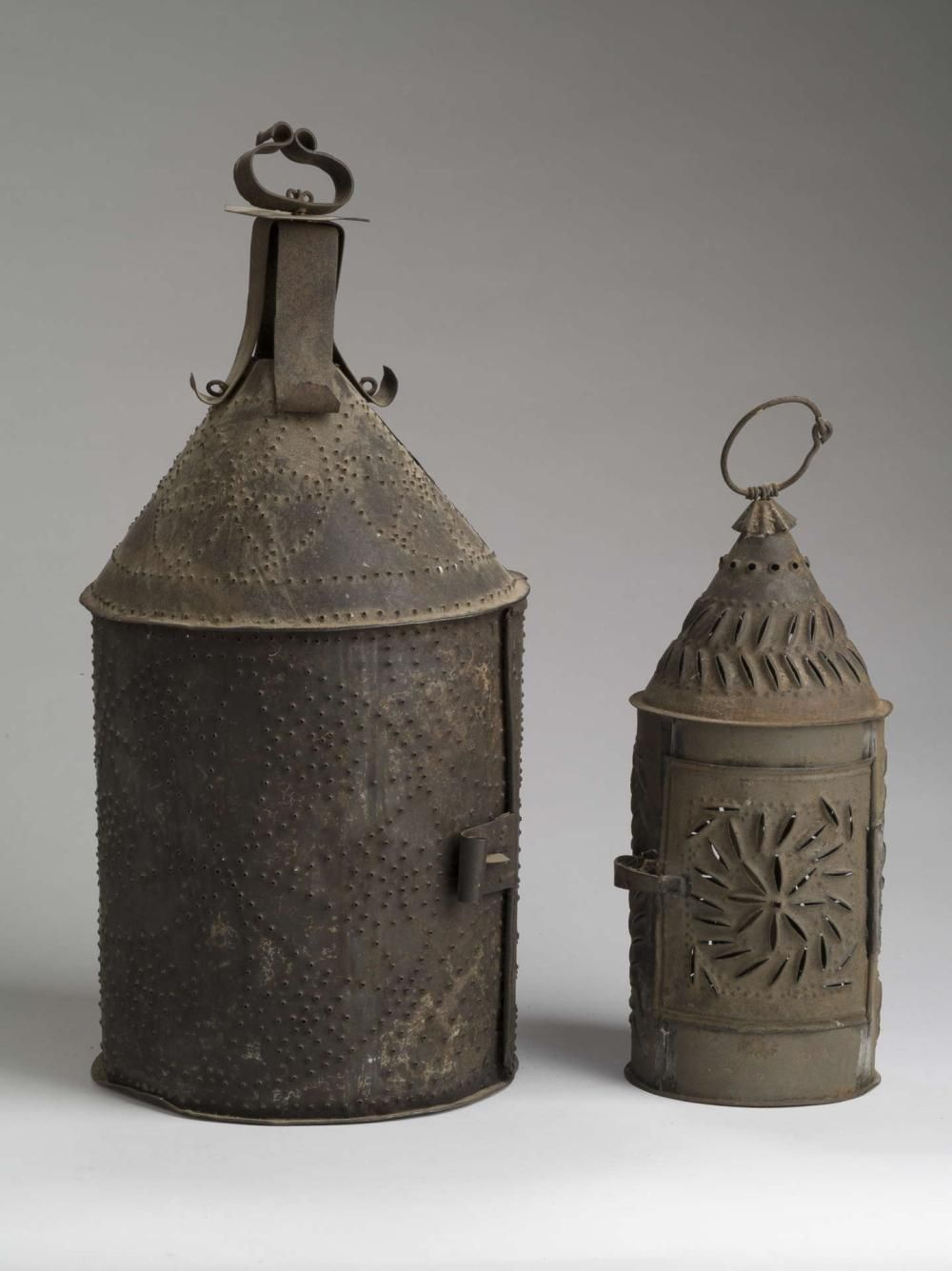Buy Online View Images And See Past Prices For Two Unusual Punched Tin Single Light Lanterns Early Nineteenth Century Invaluable In 2020 Primitive Lighting Antique Lanterns Rustic Lamps