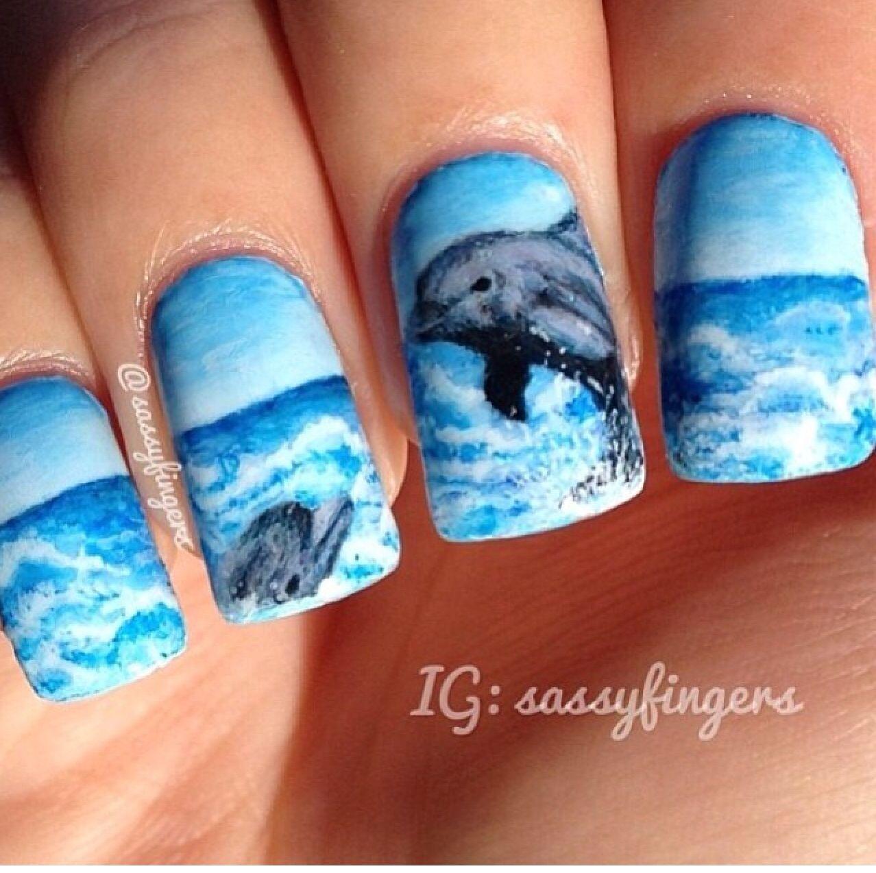 Uñas Delfín Uñas Nails Nail Art Y Nail Designs