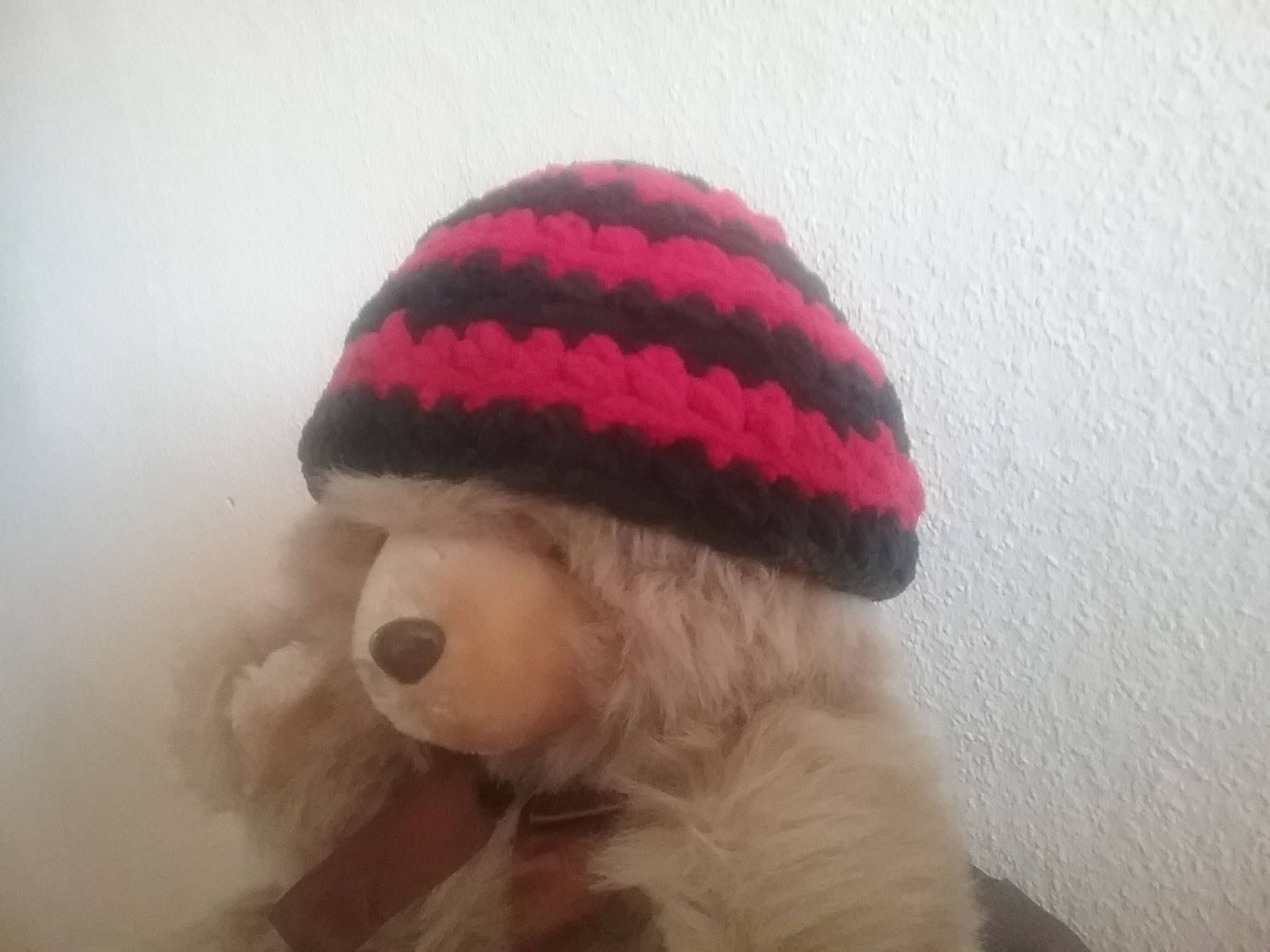 Chubby hot baby hat in red and Black / Hat / head size 44-46 cm ...