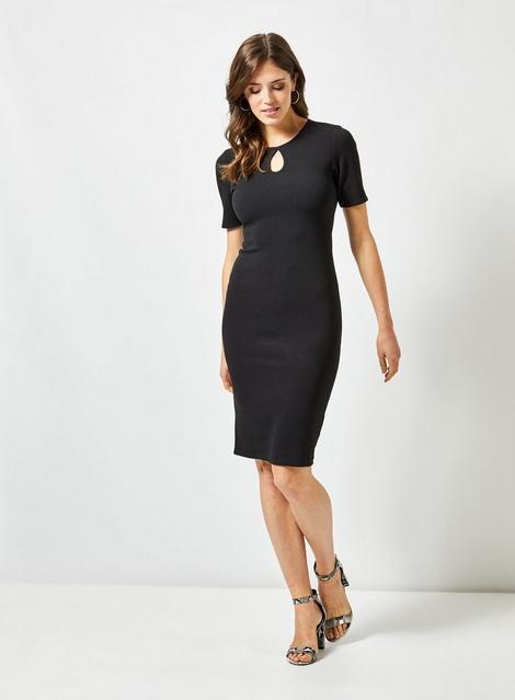 3349234908e5 Black Split Neck Bodycon Dress - View All New In - New In - Dorothy Perkins