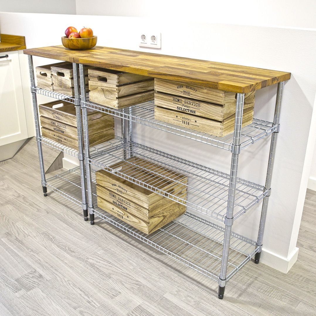 Ikea Hacks Add A Wooden Countertop To Your Wire Shelving
