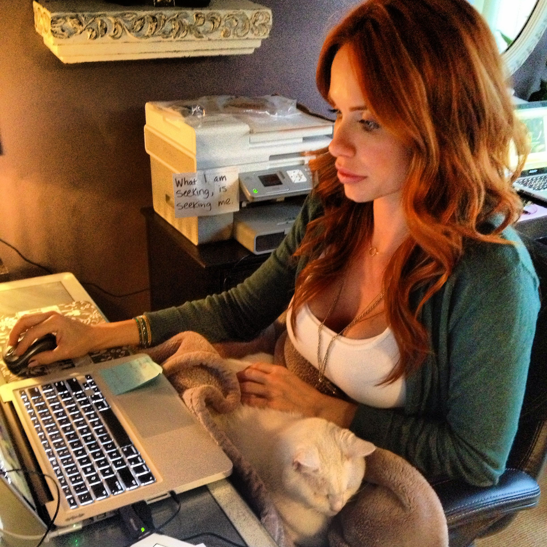 My work buddy. #Stella #whitecat #cats #kitties #animallover