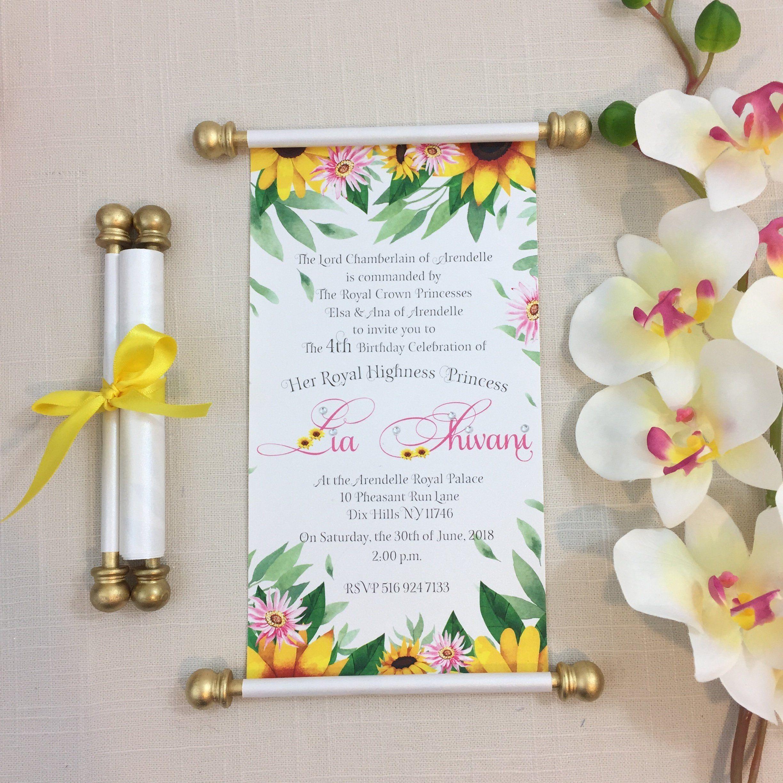 Frozen Fever Sunflower Inspired Scroll Birthday Invitation Princess