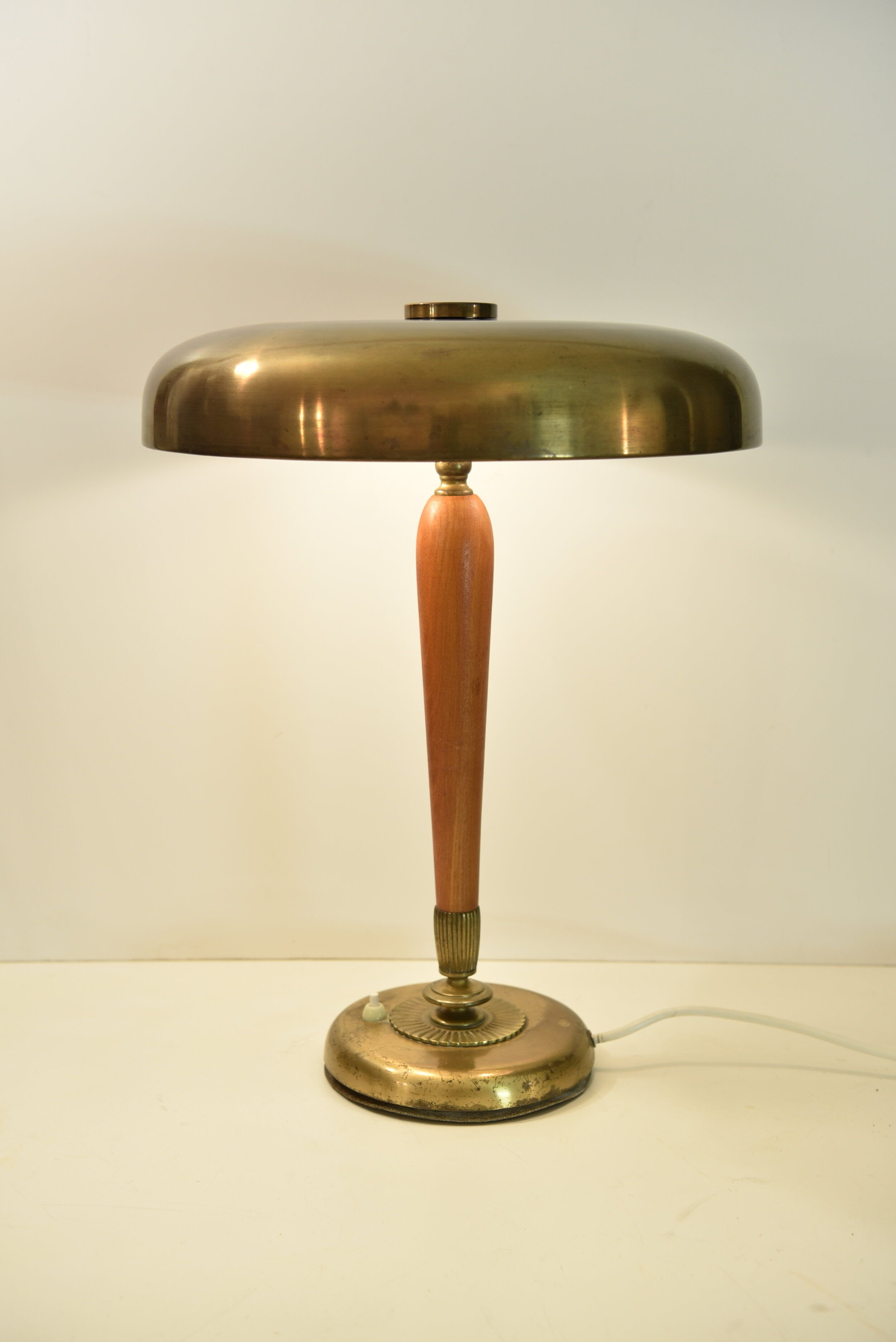 Large Swedish Art Deco Oak And Brass Table Lamp By Bohlmarks 1930