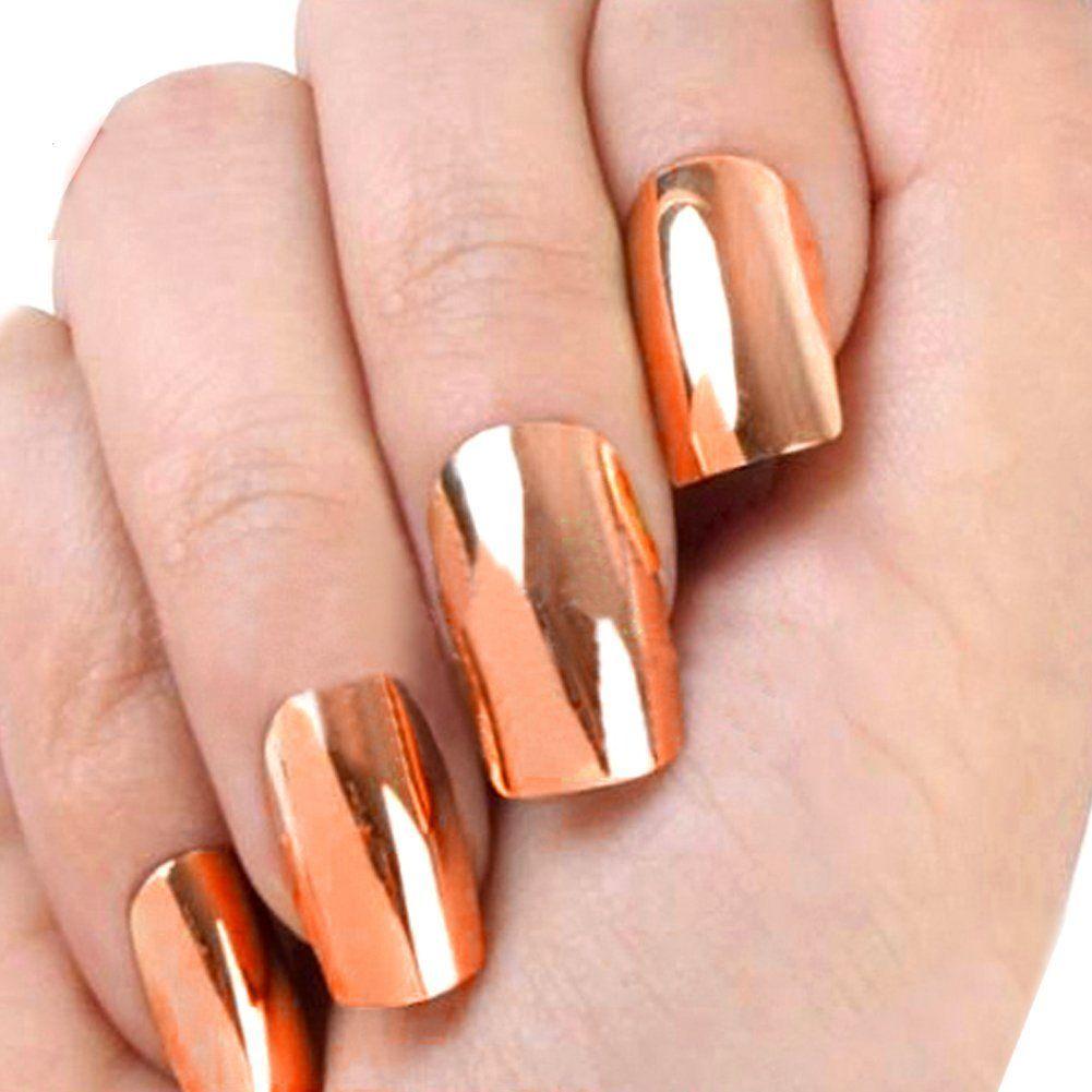 Locomo 12pc Metallic Color Electroplated Acrylic False Fake Full Nail Tip Art Bronze Nac010bnz Be Sure Nail Art Hacks Cute Acrylic Nails Acrylic Nail Tips