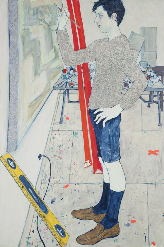 """HOPE GANGLOFF, """"Stems (Greg Lindquist)"""", 2011.  Acrylic on canvas, 81"""" by 53 1/4"""" / 83"""" by 56 1/2"""" by 2 1/2""""."""