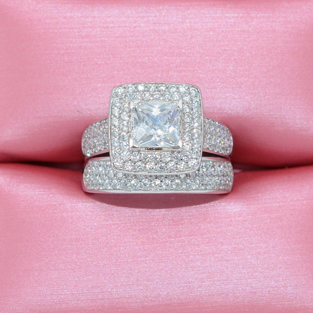 2.00 Ct Princess Cut Diamond 2 Piece Solitaire Engagement Bridal ...