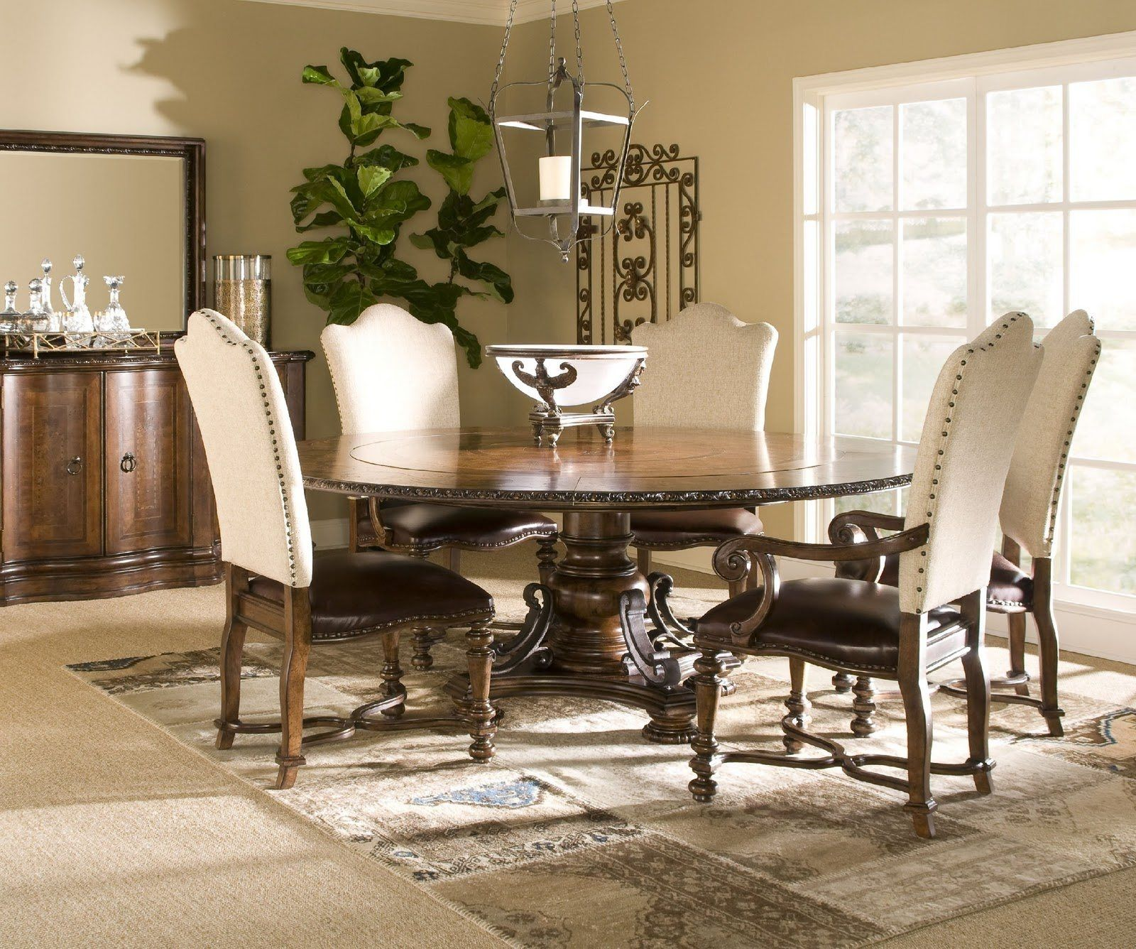 Nailhead Dining Room Chairs And Round Dining Table