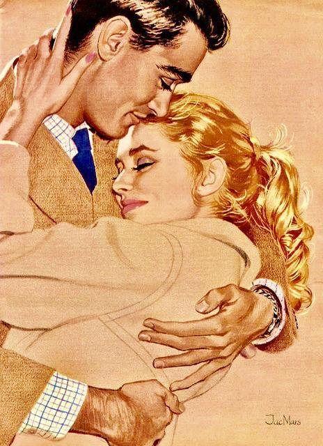Vintage Couple Man Woman Graphic Image Art Fabric Block Doodaba