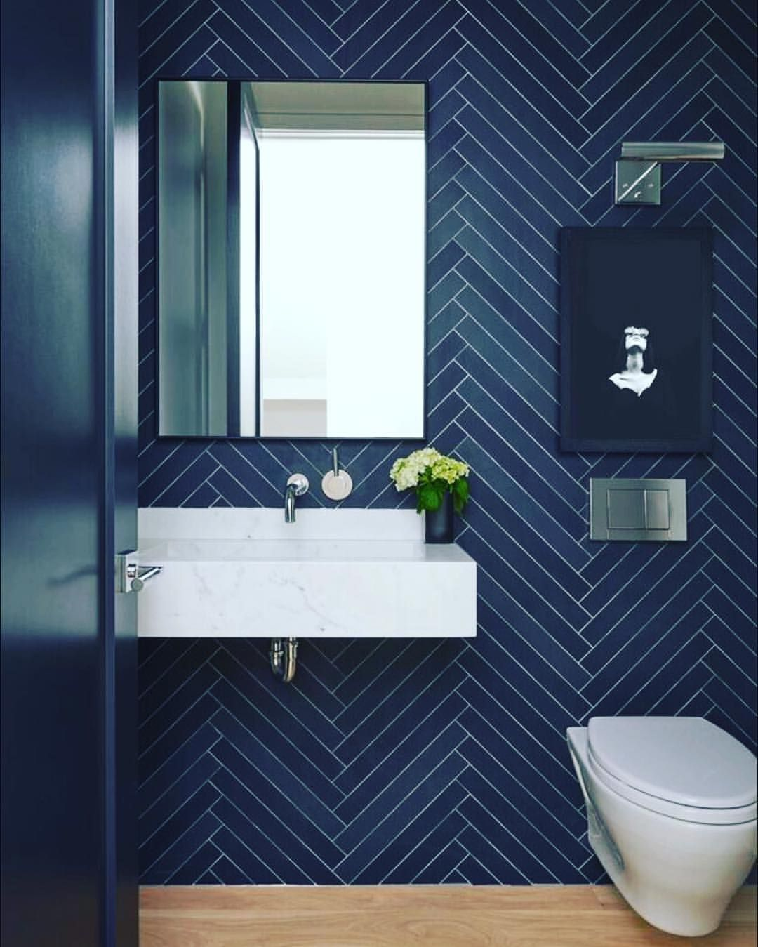 Iconic Vintage Inspirations For A Brighter And Colorful Day Explore Our Design World Of Brands Dark Blue Bathrooms Powder Room Tile Small Bathroom Makeover