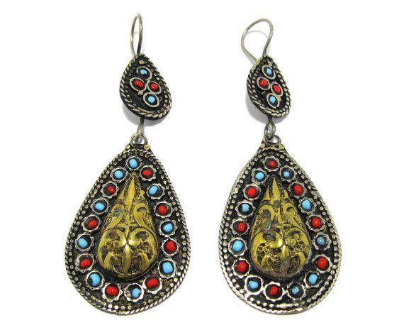 http://crafteast.com Beaded Afghan Kuchi Tribal Teardrop Earrings,Turkmen Ethnic Tribal Jewelry,Ethnic Tribal Earrings,Boho Gypsy Bohemian Earrings