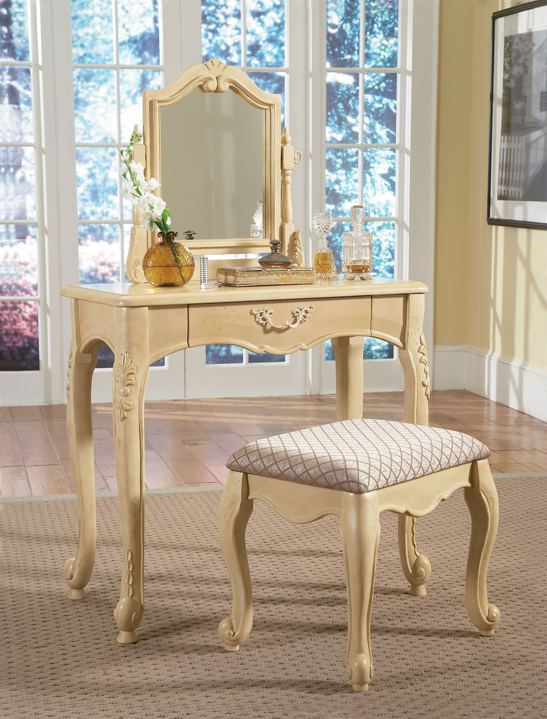 Antique vanities for bedrooms with mirror and single drawer design