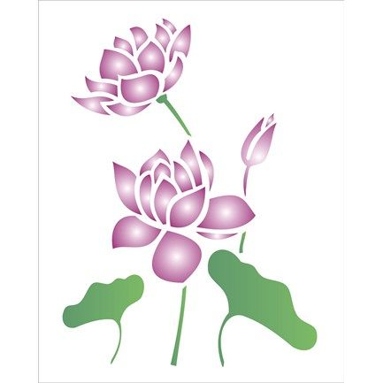 Estencil-para-Pintura-Simples-20X25-Flor-de-Lotus---OPA1775---Opa ...