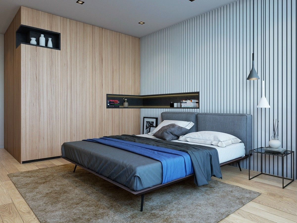 2 Modern Apartments Under 1200 Square Feet Area For Young Families Includes 3d Floor Plans Bedroom Design Apartment Design Grey Bedroom Decor