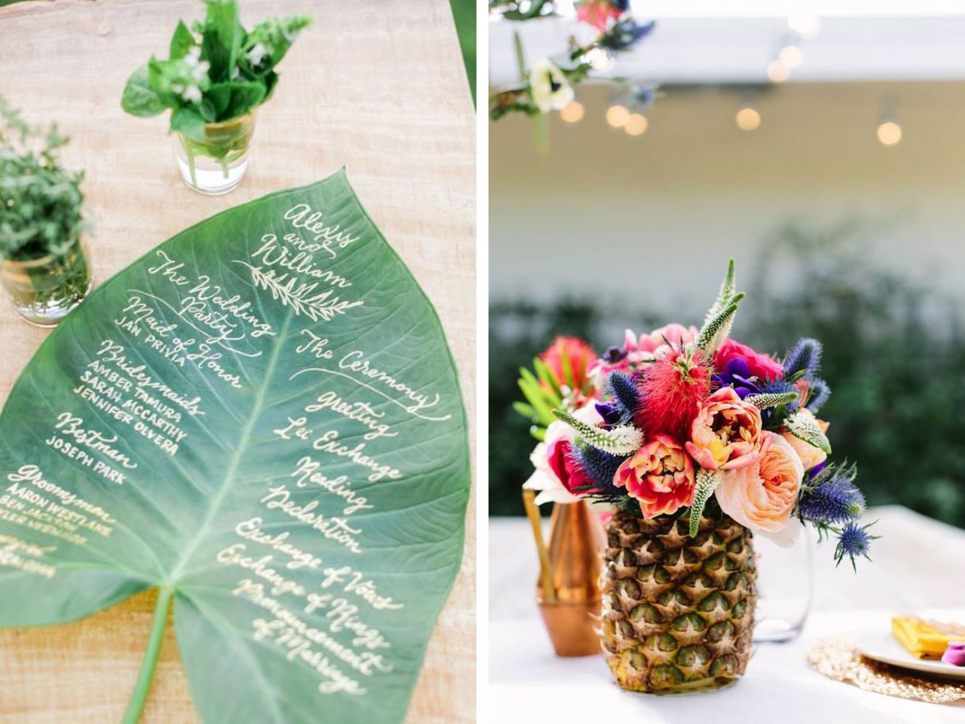 moodboard tropical exotic wedding inspiration mariage tropical exotique ananas et feuille de. Black Bedroom Furniture Sets. Home Design Ideas
