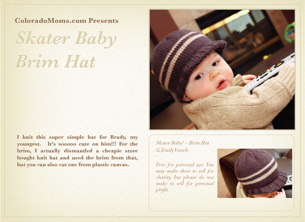 Skater Baby Brim Hat_Page_1 | KNITTING hats | Pinterest