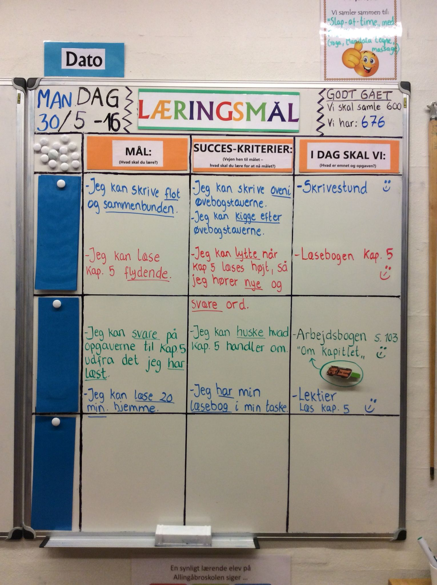 Dagens læringsmål i 3. Klasse :-)