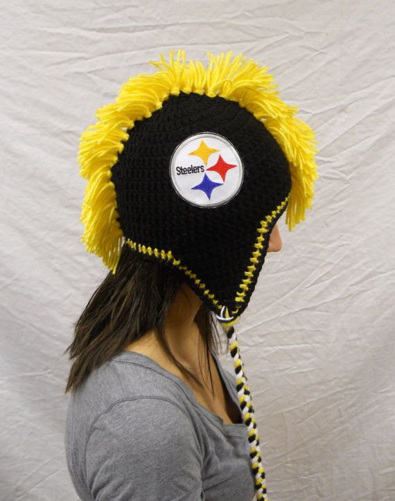 Crochet Pittsburgh Steelers Football Adult Mohawk with Embroidered ...