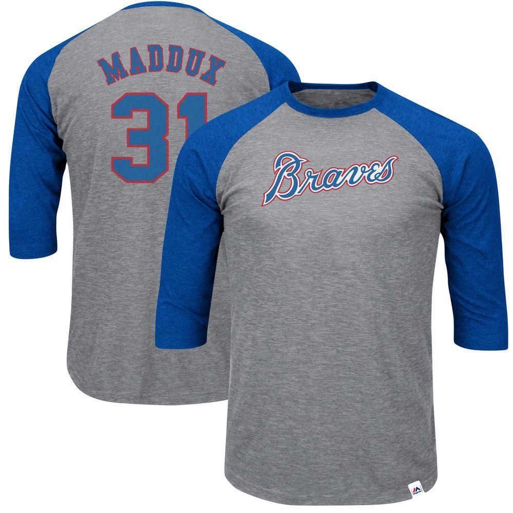 Greg Maddux Atlanta Braves Majestic Cooperstown Stirring Envy 3 4 Sleeve Raglan T Shirt Gray Royal With Images Shirts Grey New York Yankees New York Mets