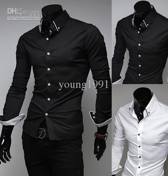 2015 New Men Suit Dress Shirts Style Black White Slim Fit Top ...
